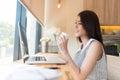 Beautiful business woman using a laptop computer Royalty Free Stock Photo