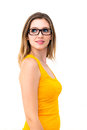 Beautiful business woman wearing glasses portrait of Royalty Free Stock Photos