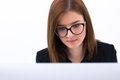 Beautiful business woman working on pc young Stock Photo