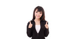 Beautiful businesswoman giving, showing two thumbs up Royalty Free Stock Photo