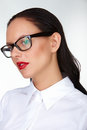 Beautiful businesswoman gorgeous woman with red lips and eyeglasses in isolation Stock Photography