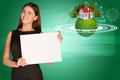Businesswoman hold empty paper. Background of
