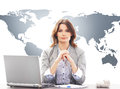 Beautiful businesswoman in office on a world map Royalty Free Stock Photo