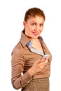 Beautiful businesswoman with phone smiling Stock Photo