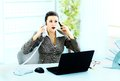 Beautiful businesswoman talking phone office Royalty Free Stock Photography