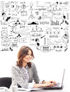 Beautiful businesswoman typing on keyboard with conceptual schemes and diagrams isolated white Royalty Free Stock Photography