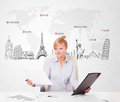 Beautiful businesswoman with world map and major landmarks of th young the Royalty Free Stock Photo
