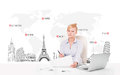 Beautiful businesswoman with world map and major landmarks of th young the Royalty Free Stock Photography