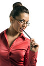 Beautiful businesswomen flirting business woman pen glass girl Stock Photos