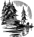 stock image of  Beautiful Cabin By A Lake