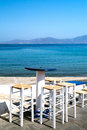 Beautiful cafeteria at the beach on mykonos island greece Stock Photography
