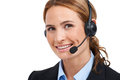 Beautiful call-centre assistant Royalty Free Stock Photography