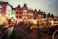 Beautiful calm night view of Amsterdam city Royalty Free Stock Photo