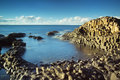 Beautiful calm sunny afternoon at the famous giant s causeway on the antrim coast of northern ireland Stock Photos
