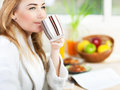 Beautiful calm young woman having morning coffee Stock Photography