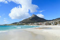 Beautiful camps bay beach and lion head mountain cape town south africa Royalty Free Stock Photos