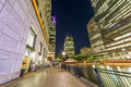 Beautiful Canary Wharf skyline at night, London from street leve Royalty Free Stock Photo