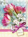 Beautiful card with bouquet of red tulips end other spring flowers with pink bow holiday floral background can be used as greeting Stock Image