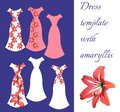 Beautiful card with collection of female dresses. Romantic dress templates with amaryllis flower.