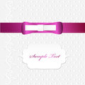 Beautiful card cute satin shiny bow Royalty Free Stock Image