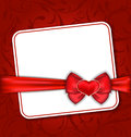 Beautiful card for valentine day with red heart and bow illustration Royalty Free Stock Photos
