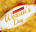 Beautiful Card for Women's Day with Mimosa Flowers and Golden Text, Vector Illustration Royalty Free Stock Photo