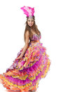 Beautiful carnival dancer amazing costume isolated on white background Royalty Free Stock Image