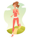 Beautiful cartoon girl jogging Stock Image