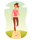 Beautiful cartoon girl jogging Royalty Free Stock Images