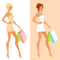 Beautiful cartoon girl in summer dress shopping Stock Photo