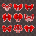 Beautiful cartoon red bows set Royalty Free Stock Photo