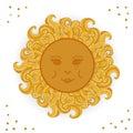 Beautiful cartoon sun vector illustration.