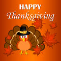 Beautiful cartoon turkey bird. Happy Thanksgiving celebration. Orange background.