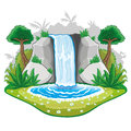 Beautiful cartoon waterwall nature illustration on white background Royalty Free Stock Images