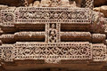 Beautiful carvings on the wall of sun temple Konar Stock Photos
