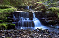 Beautiful cascading waterfall nant bwrefwy upper blaen y glyn brecon beacons south wales Royalty Free Stock Images