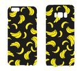 Beautiful cases for smartphones with bananas. Print for lining the phone. Ready design. Vector illustration. Summer drawings.