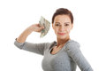 Beautiful casual woman holding money isolated on white Royalty Free Stock Photo