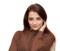 Beautiful casual woman looking in camera with happy smile isolated on white