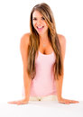 Beautiful casual woman looking very happy isolated over a white background Royalty Free Stock Photography