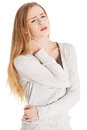 Beautiful casual woman is touching her neck she s having ache isolated on white Stock Photography