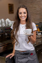 Beautiful caucasian waitress Royalty Free Stock Photo