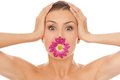 Beautiful caucasian woman with flower in mouth Royalty Free Stock Photo