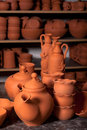 Beautiful ceramic products in the pottery workshop Royalty Free Stock Images