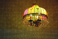 Beautiful chandelier with colorful lights Royalty Free Stock Image