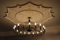 Beautiful chandelier with romantic candles under the top Royalty Free Stock Photography