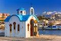 Beautiful chapel on the coast of Kato Galatas on Crete Royalty Free Stock Photo