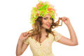 Beautiful cheerful girl in a color wig and beautiful up make up on white background Stock Photos