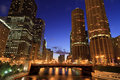 Beautiful Chicago Night Skyline Stock Photos