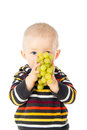 Beautiful child eats grapes Royalty Free Stock Photos